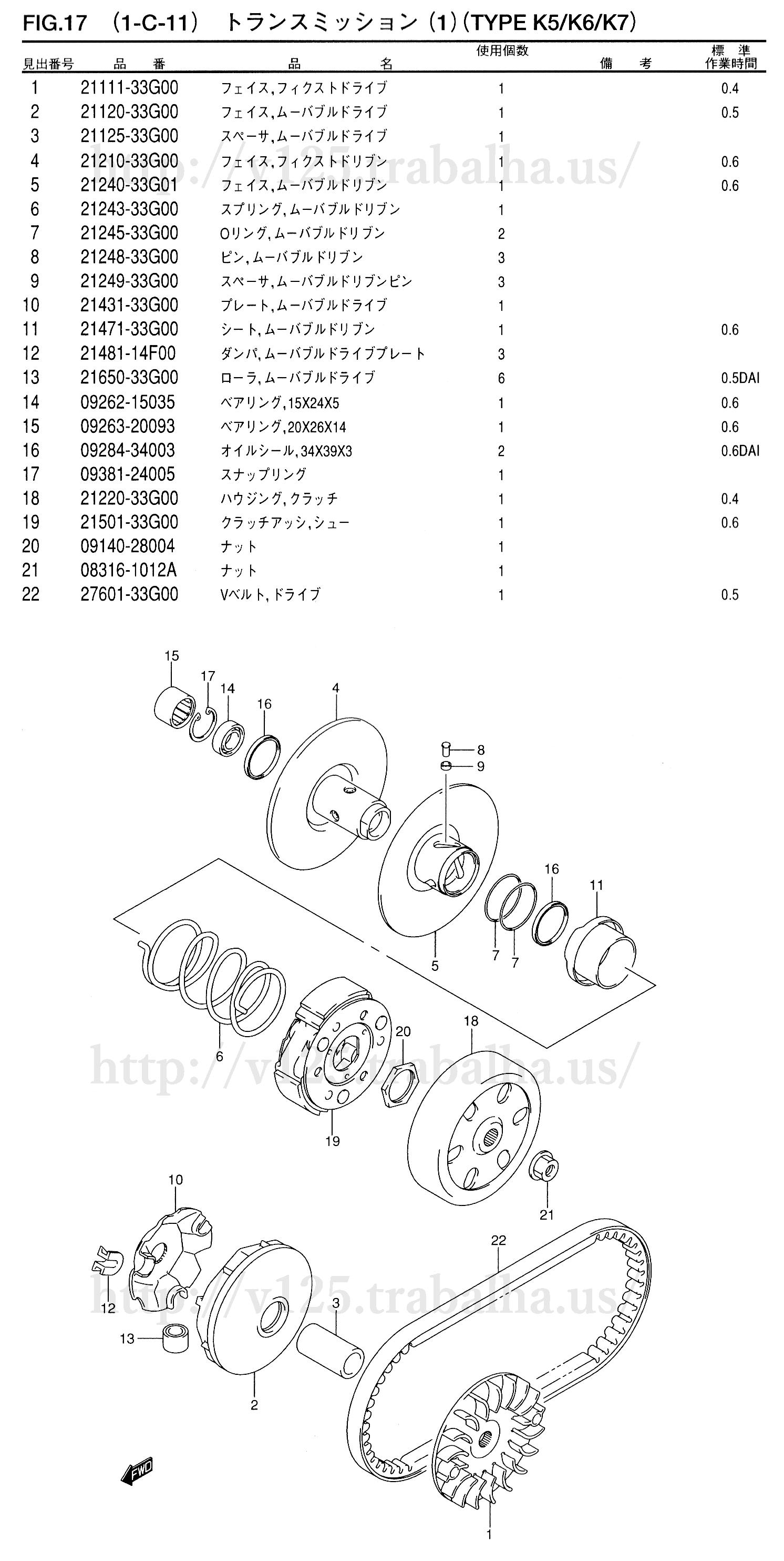 FIG.17(1-C-11) トランスミッション(1)(TYPE K5/K6/K7)