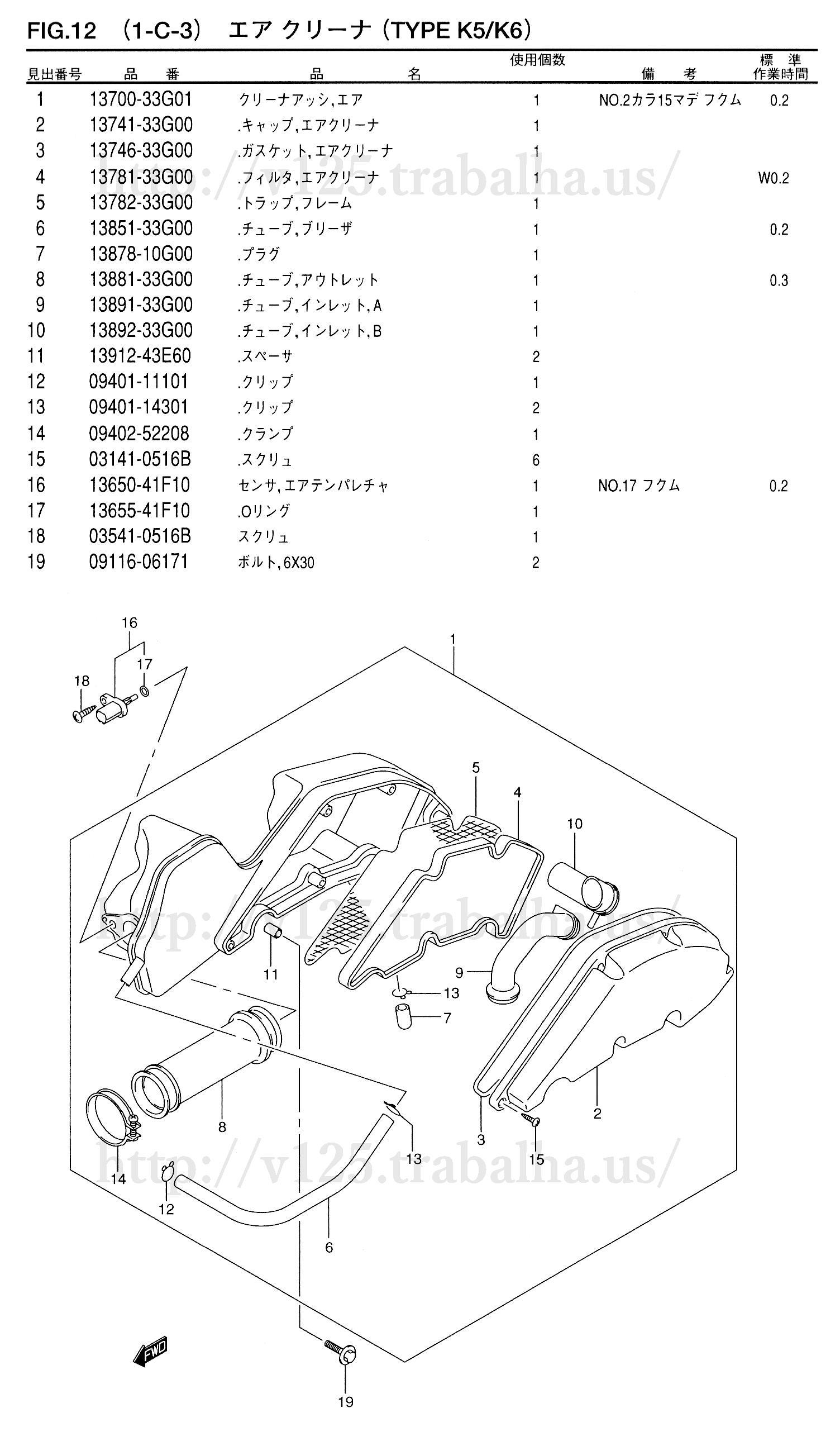 FIG.12(1-C-3)エアクリーナ(TYPE K5/K6)