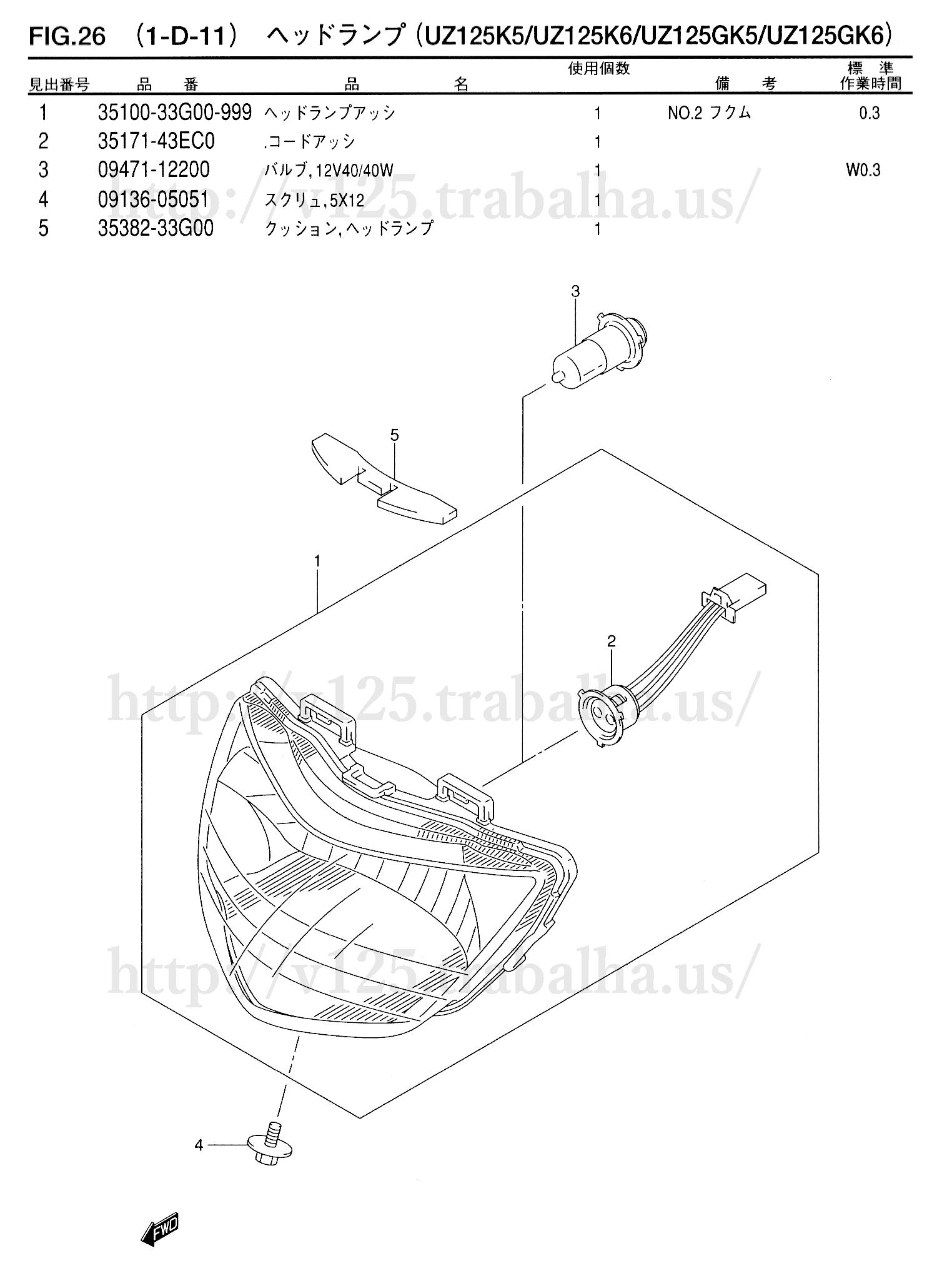 FIG.26(1-D-11)ヘッドランプ(UZ125K5/UZ125K6/UZ125GK5/UZ125GK6)