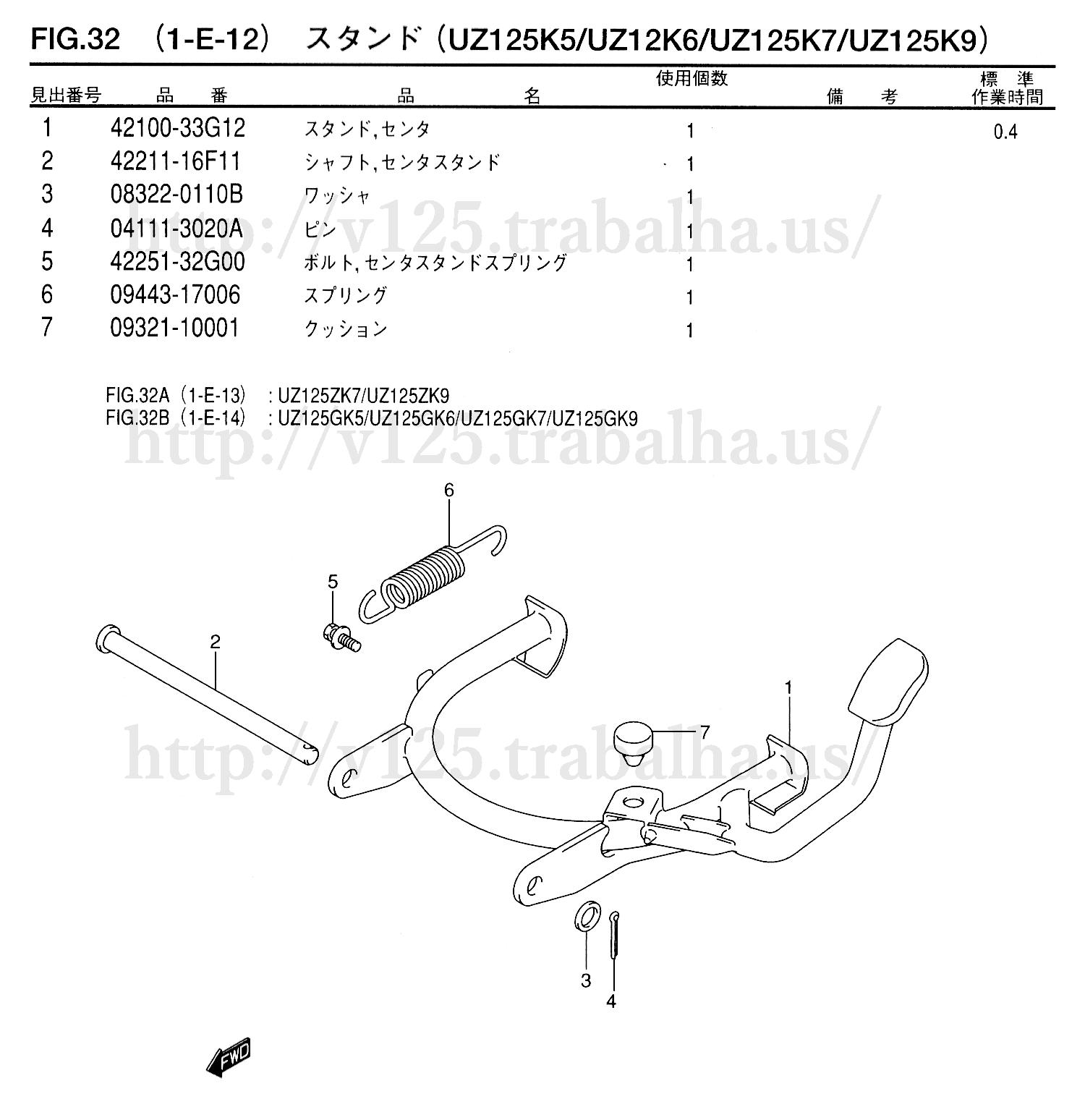 FIG.32(1-E-12)スタンド(UZ125K5/UZ125K6/UZ125K7/UZ125K9)