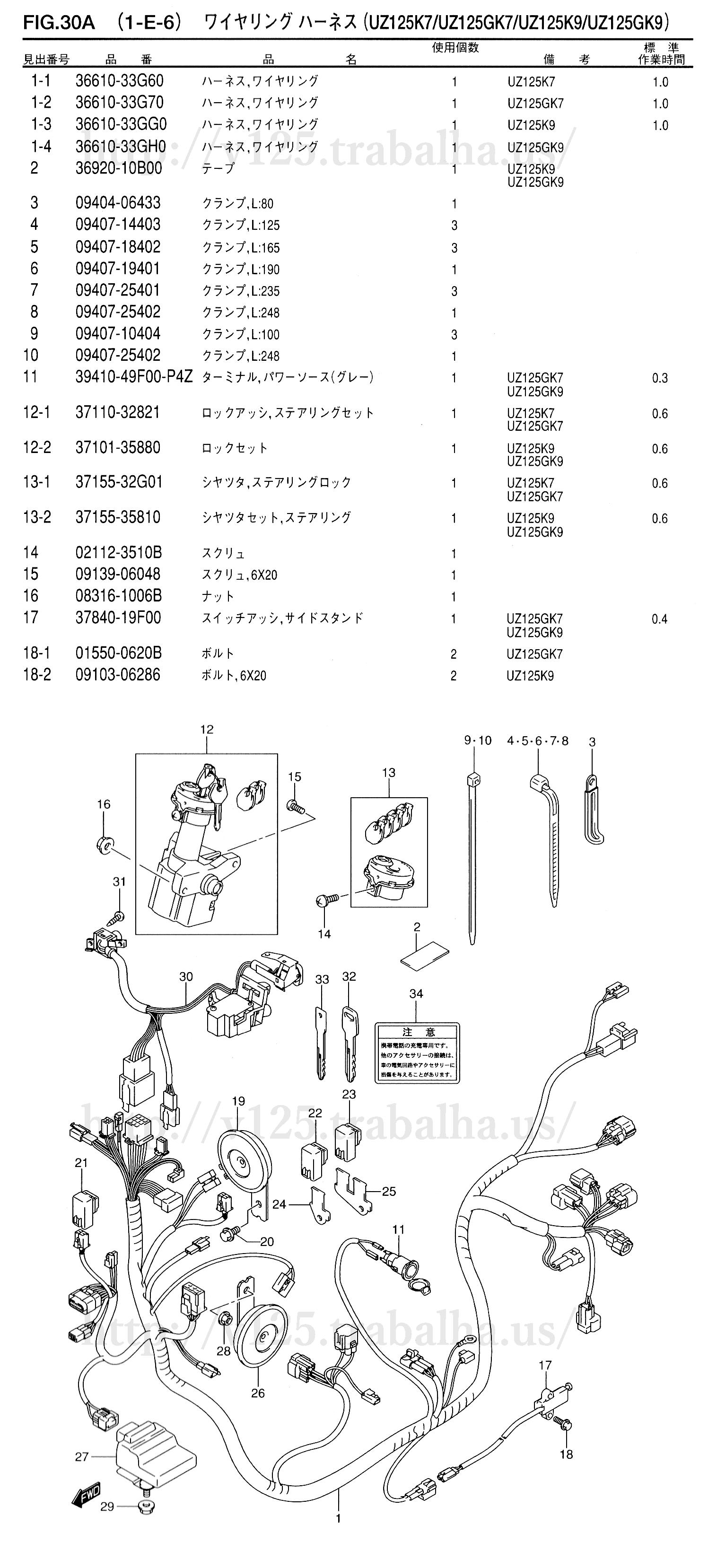 FIG.30A(1-E-6)ワイヤリング ハーネス(UZ125K7/UZ125GK7/UZ125K9/UZ125GK9)