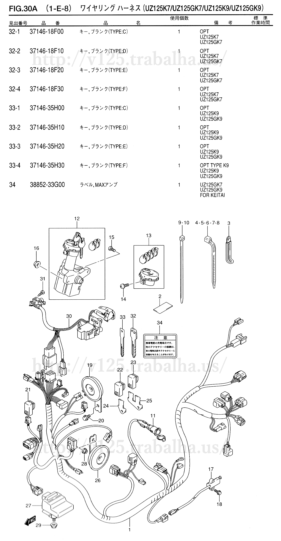 FIG.30A(1-E-8)ワイヤリング ハーネス(UZ125K7/UZ125GK7/UZ125K9/UZ125GK9)