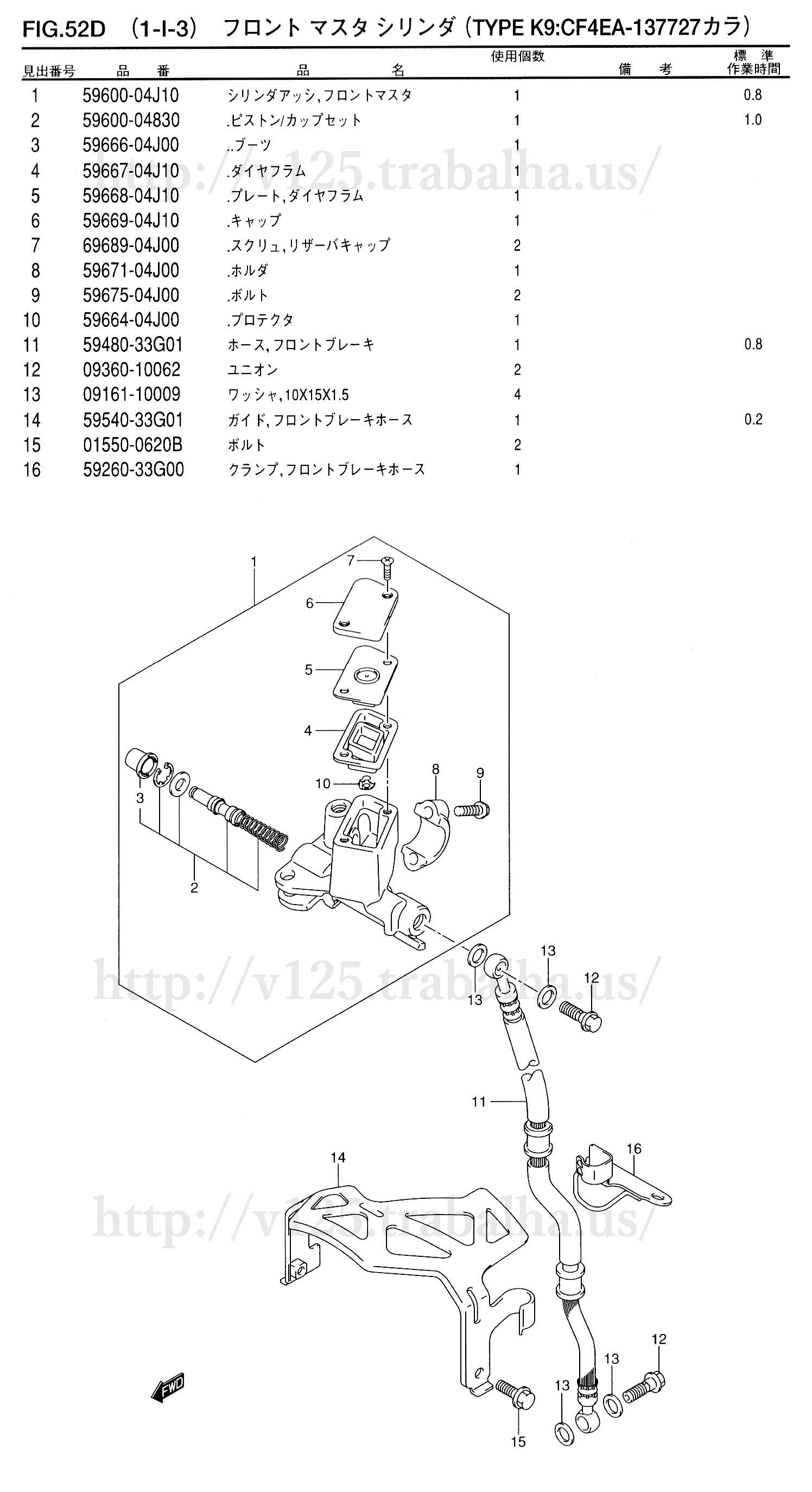 FIG.52D(1-I-3)フロント マスタ シリンダ(TYPE K9:CF4EA-137727カラ)