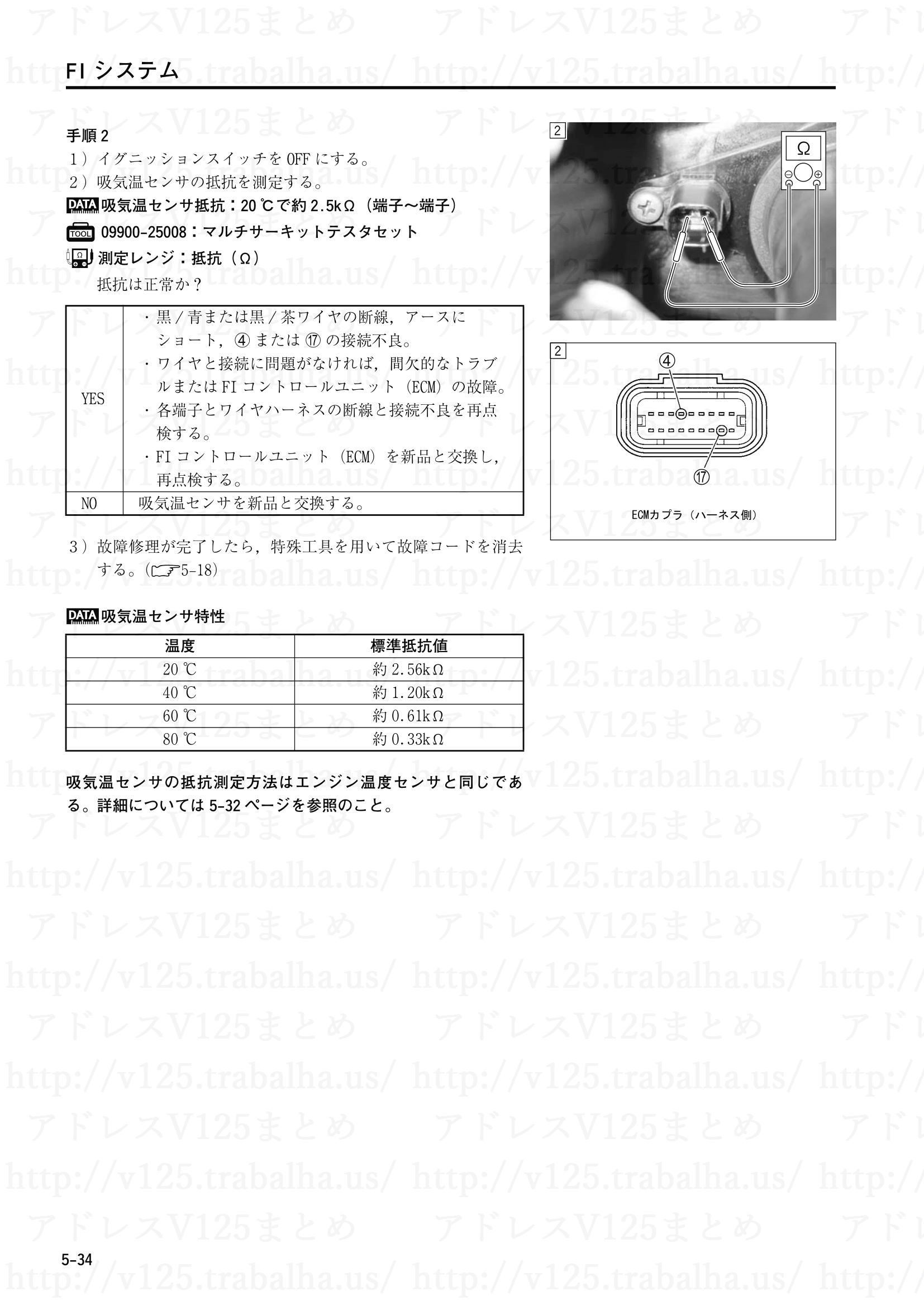"""5-34【FIシステム】""""C21""""吸気温センサ(IATS)回路の故障2"""