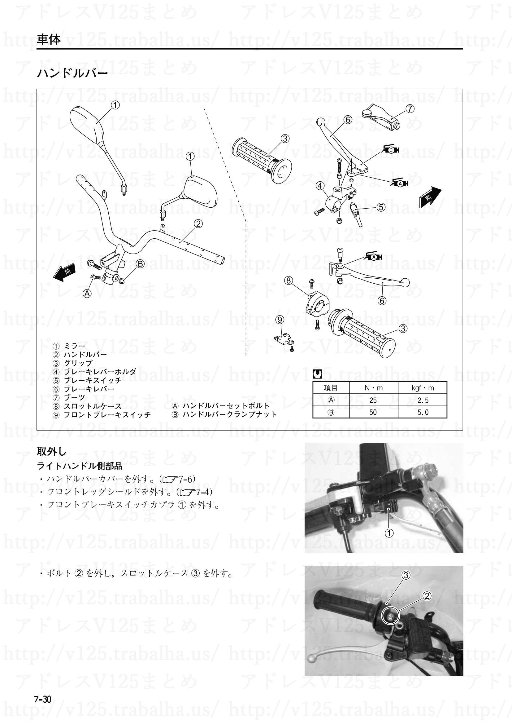 7-30【車体】ハンドルバーの取外し1