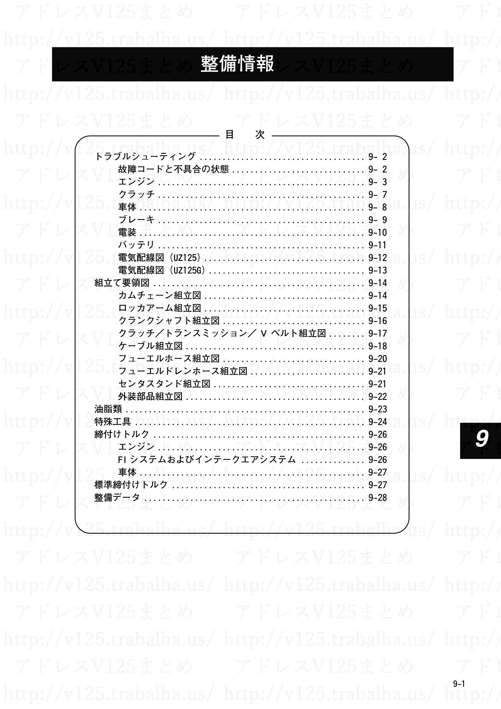 9-1【整備情報】目次
