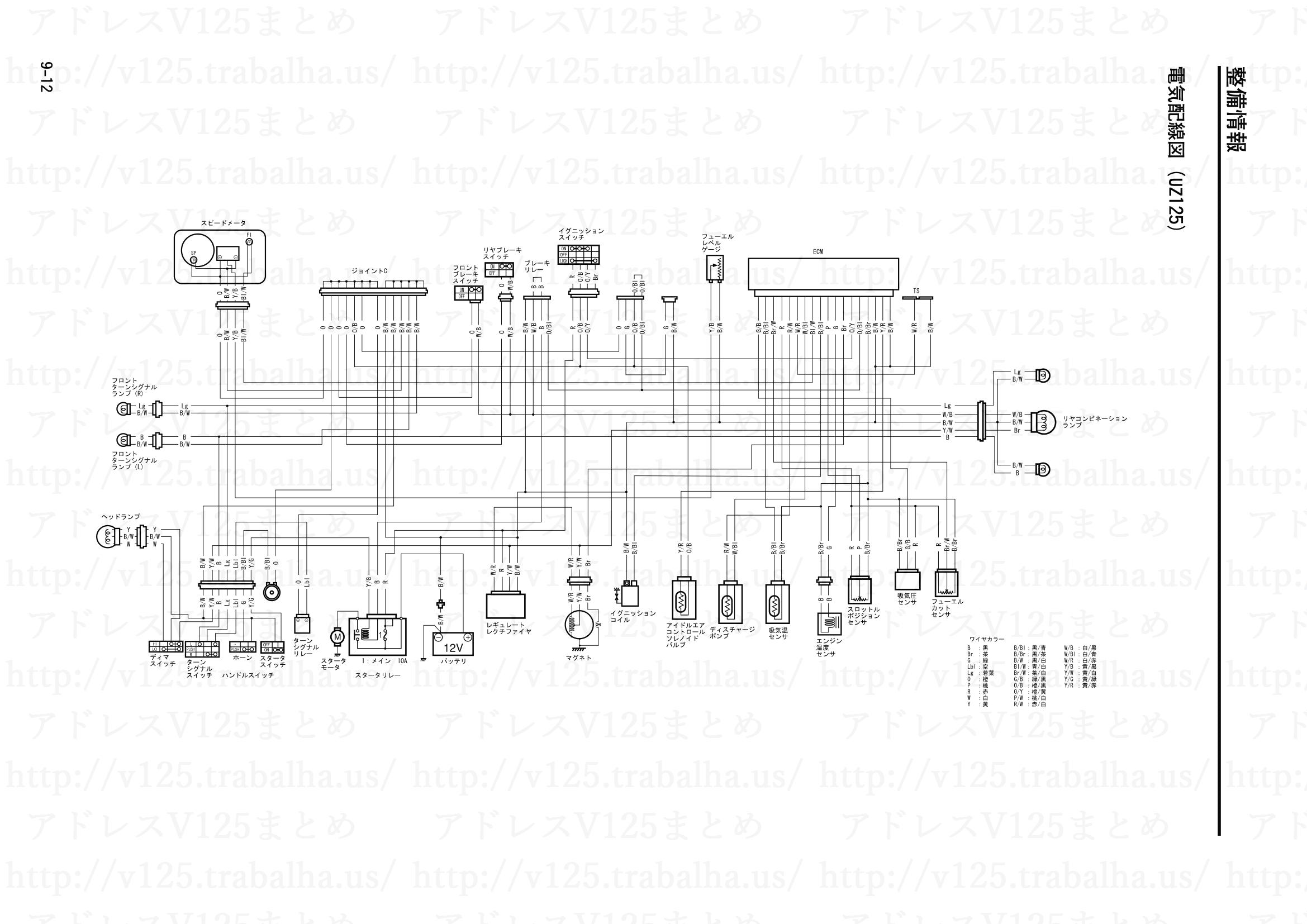 9-12【整備情報】電機配線図(UZ125)