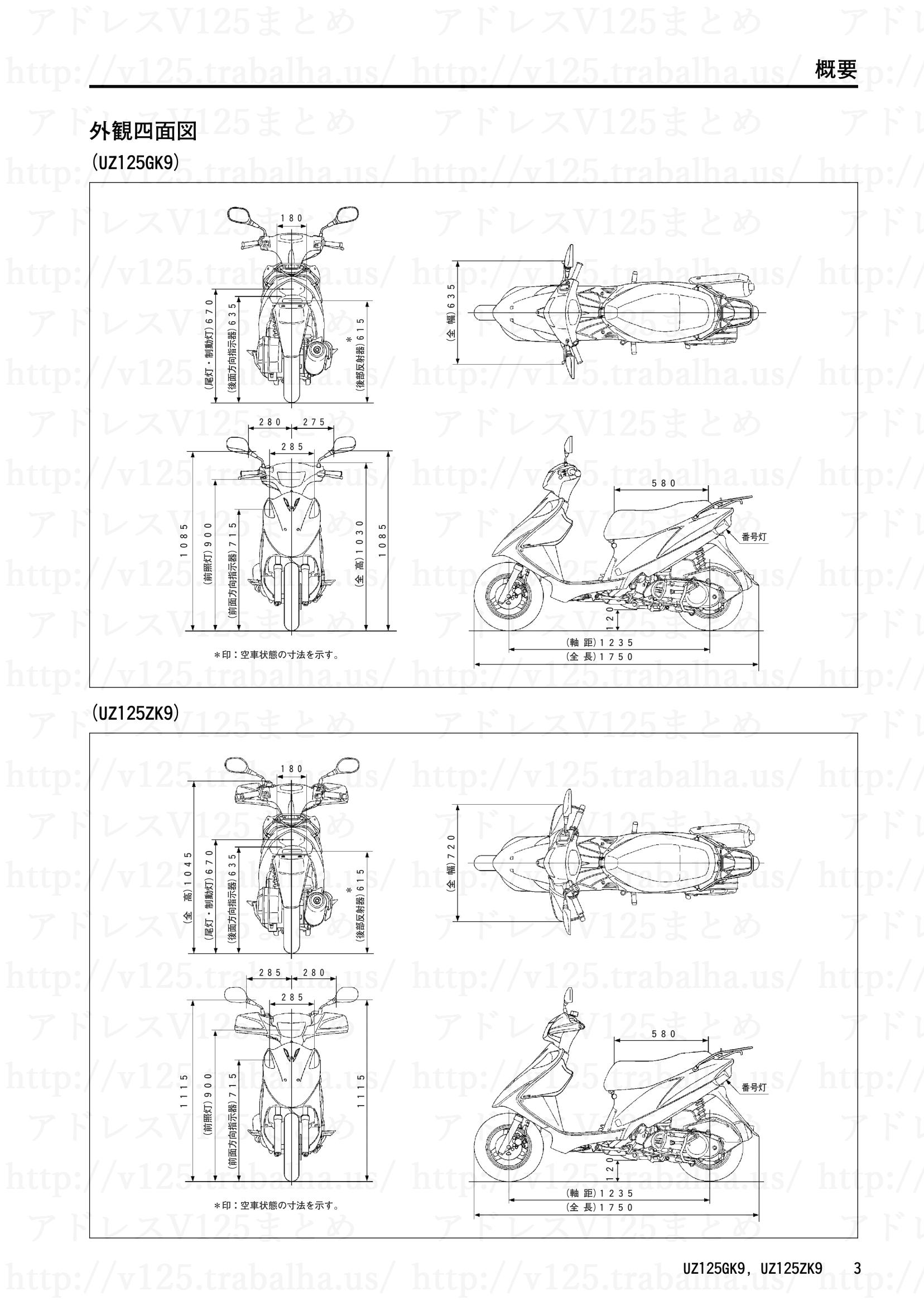 追補【UZ125GK9/UZ125ZK9】旧モデルとの主な相違点3