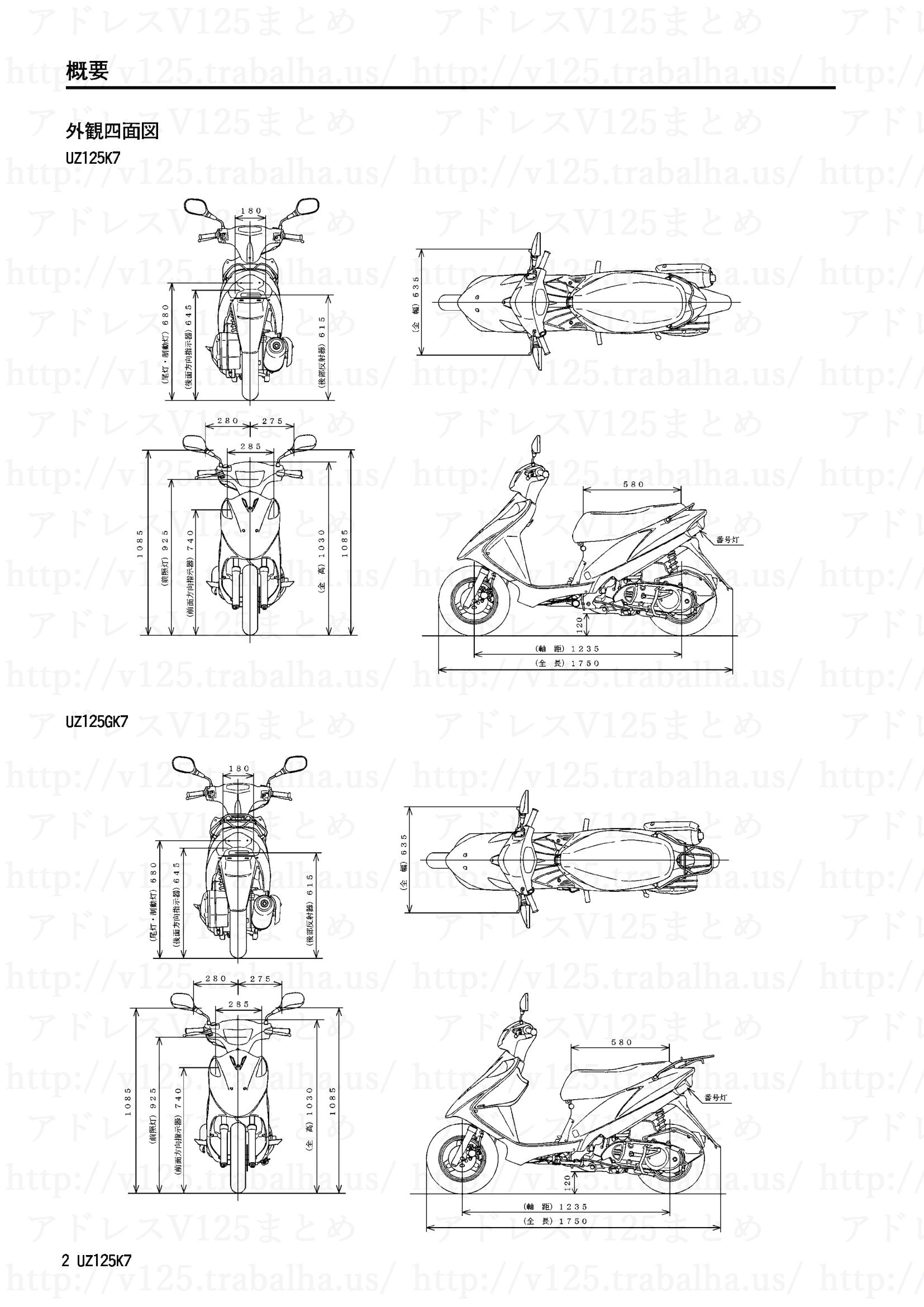 追補【UZ125K7/UZ125GK7】旧モデルとの主な相違点2